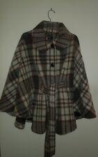 NWT Ellen Tracy Plaid Natural Palette Belted Wool Blend Cape XL