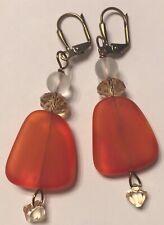 Seaglass earrings, orange, crystals ,antique gold earrings.