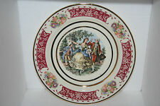 Victorian Porcelain Plate Musician People Dancing Floral Motif Gold Gilt Accents