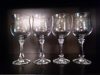 4 Ultra Fine Long Ring 8 In. Tall Crystal Wine Glasses Water Goblets