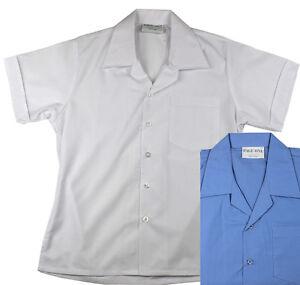 Short Sleeve School Shirt White & Blue Size 10 12 14 16 18 20 22 24 26