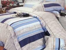 Kids Cotton Navy Blue Stripes Twin Size Duvet Cover Bedding Set Beige Tan 3PC