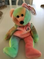 Ty Beanie Babies Peace the Bear MWMT