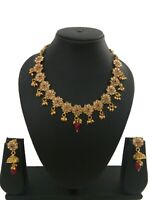 Indian Fashion Jewelry Necklace Set Bollywood Ethnic Gold Plated Party Wear Set