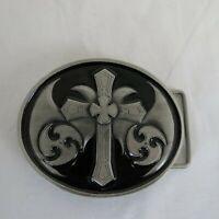 Siskiyou Men's Belt Buckle Metal Cross Oval OS200