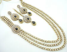 BLACK CZ GOLD TONE INDIAN TRADITIONAL BOLLYWOOD RANI HAAR NECKLACE SET JEWELRY