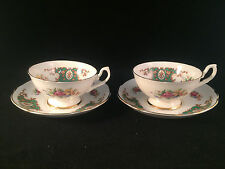 Lot of 2 Dinette Floral & Gold Rim Cup & Saucer Sets