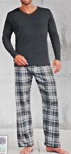 2 tlg. Herren Flanell Pyjama Schlafanzug Baumwolle Gr.L XL anthrazit NEU