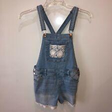 Justice Girls Size 18 Light Wash Blue Denim Shortalls Bib Overall Pockets Shorts