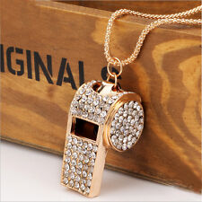 Trendy Female Jewelry Pendant Gold Plated Crystal Chain Whistle Necklace Charm