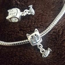 Cat 925 Dangle Fish Kitten Slide Bead for Silver European Style Charm Bracelets