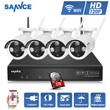 SANNCE 4CH NVR 1TB HDD 720P Video Security Camera System Indoor Outdoor Wireless