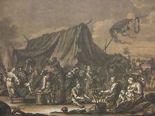 RUGENDAS `ZELTLAGER MIT VIEL LEBEN; CROWDED ENCAMPMENT` T. 592; MEZZOTINT, ~1740