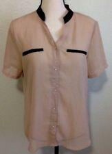 Women's Sheer Blouse Sz L Beige Top Button Front Shirt Net Back Short Sleeve