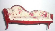 1:12 Scale Dollhouse Miniatures Off White Floral Chaise Lounge Sofa Furniture