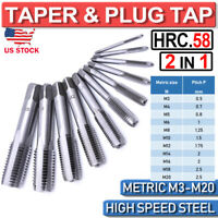 M3-M20 2in1 HSS Metric Taper&Plug Tap Die Set Right Hand Thread Cutter Taps New