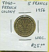 TOGO - BEAUTIFUL HISTORICAL ALUMINUM-BRONZE 5 FRANCS, 1956 (a), KM# 6