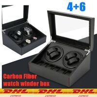 Nuovo Carbon Fiber 4+6 Watch Winder Box Orologio Automatico Scatola Cassa DHL