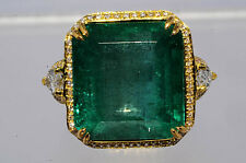 $58,000 23.58Ct Natural Emerald & Diamond Ring Size 6.5 18K 2 Tone