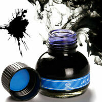 60ml Blue Calligraphy Fountain Pen Smooth Ink Glass Bottle Office Supplies O2T7
