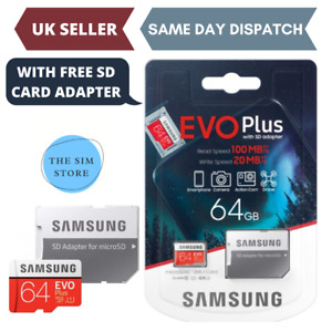 Samsung Plus 64GB micro SD SDXC Class 10 memory card Upto 100MB/S +Adapter