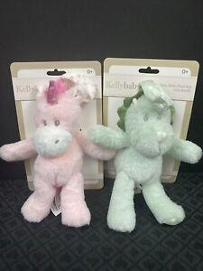 Kellybaby Kellytoy Unicorn Dinosaur 8in Baby Pram Toy Rattle New Pink Green