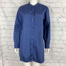 Vince Women's Tunic Blouse Large Blue Mandarin Collar Long Sleeve