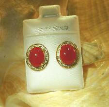8X10 GENUINE NATURAL OVAL RED CORAL SOLID 14K YELLOW GOLD POST STUD EARRINGS #1