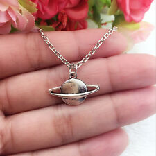 SATURN NECKLACE Tibetan Silver Planet Charm Pendant Sci Fi Space Galaxy