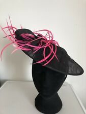 Black Pink Feathers  Fascinator Weddings Christenings Ladies Day Ascot
