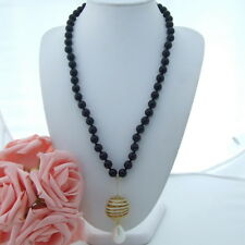 AB072507 26'' 10mm Round Onyx Necklace Cz Sea Shell Pearl Pendant