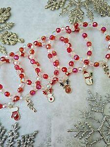 WHOLESALE JEWELLERY 12 ENAMEL CHRISTMAS CHARM BRACELETS,PARTY BAGS, JOBLOT,RED