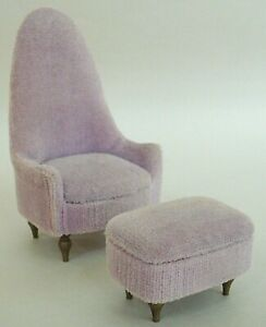 Petite Princess Dollhouse Furniture Occasional Chair + Ottoman 1964 IDEAL Lilac