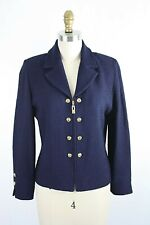 St. John Collection Blue Santana Knit Blazer Jacket Gold Logo Buttons Zip Front