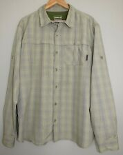 MERRELL XL Opti-Wick UPF 50+ Green Check Button Front Vented Performance Shirt