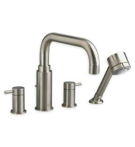 American Standard Serin Deck-Mount Tub Filler w/ Personal Shower Satin Nickel