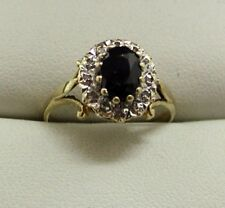 Lovely 9 carat Gold Sapphire And Diamond Cluster Ring Size L.1/2