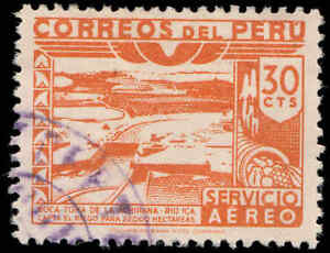 Scott # C74 - 1945 - ' Dam, Ica River ', Imprint: Columbian Bank Note Co.