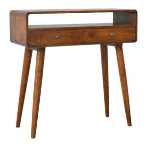 Mid Century Style Console Table / Dressing Table - Solid Wood Dark Finish