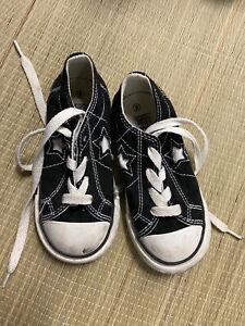 Toddler boy converse size 8 black white one star