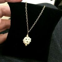 """Lovely  Gold Filled Cluster Pearl  Beaded  Pendant Vintage Necklace  21"""""""