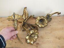 Eléments de lustre ou d'appliques - fleurs en laiton doré - RW Winfield signés