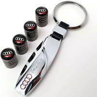 Audi Chrome Metal Keyring + 4x Tyre Valve Dust Stem Caps Gift Box For Her Him