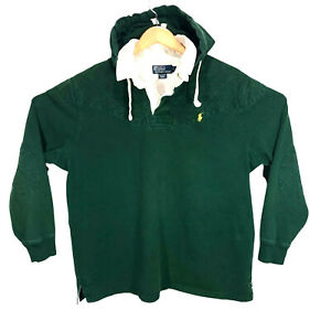 Vtg POLO Ralph Lauren Green Yellow Pony Hooded Rugby Polo Shirt Mens Size XL