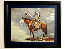 INDIAN CHIEF PICTURE WARRIOR HORSE AMERICAN INDIAN MATTED FRAMED 16X20