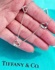 Tiffany & Co Elsa Peretti 3 Three Corazón Abierto Colgante de Plata Ley Collar