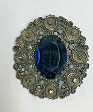 Vintage FLORENZA Blue Brooch Pendant Pin