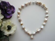 White South Sea Reborn Keshi Baroque Pearl Necklace with Keshi Pearl Pendant.