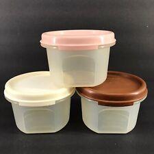Tupperware Modular Mates Round #1 Set of 3 Pink, Brown, White Seals