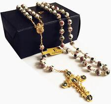 GOLD 8MM WHITE CLOISONNE ENAMEL ROSE PRAYER BEADS ROSARY CATHOLIC NECKLACE box